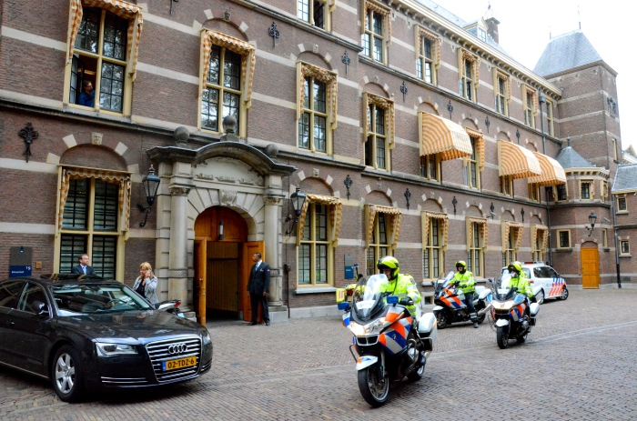 Police bikes leave the Binnenhof, The Hague (Den Haag)